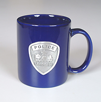Blue porcelain SPVM Coffee Mug.