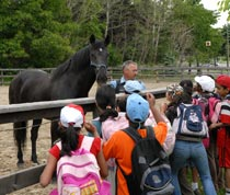 Officer Daniel Sirois introduces Black Jack to a group of school children